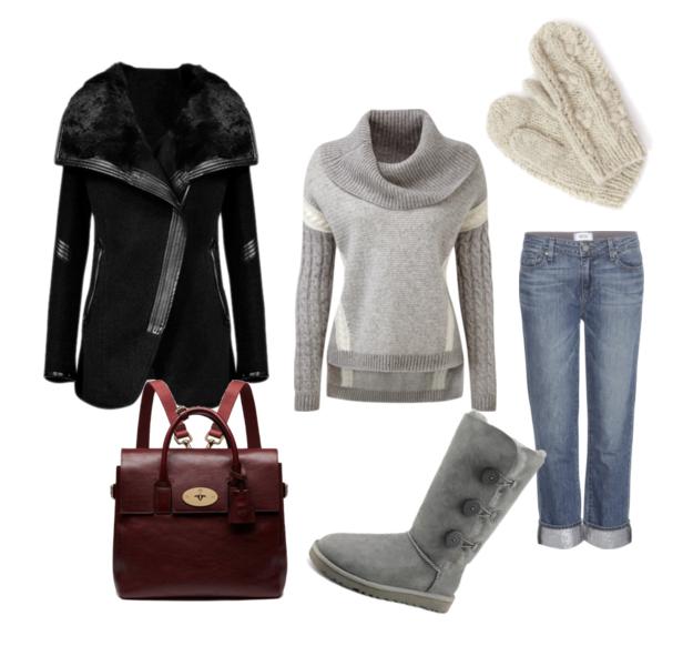 модные сеты зима 2016, свитер и джинсы