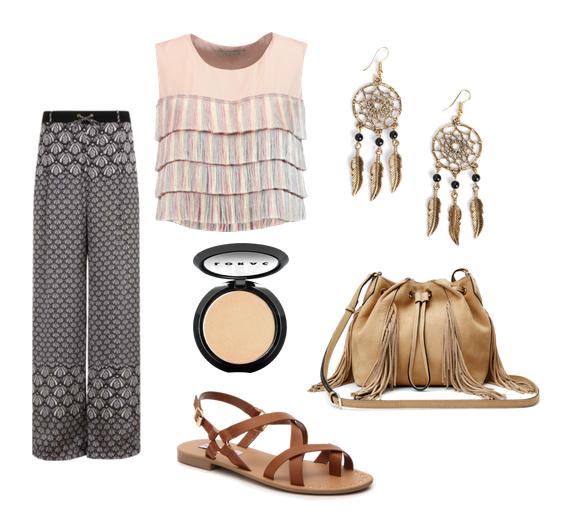 модные сеты 2016, образы на лето - брюки с принтом, топ, сандалии