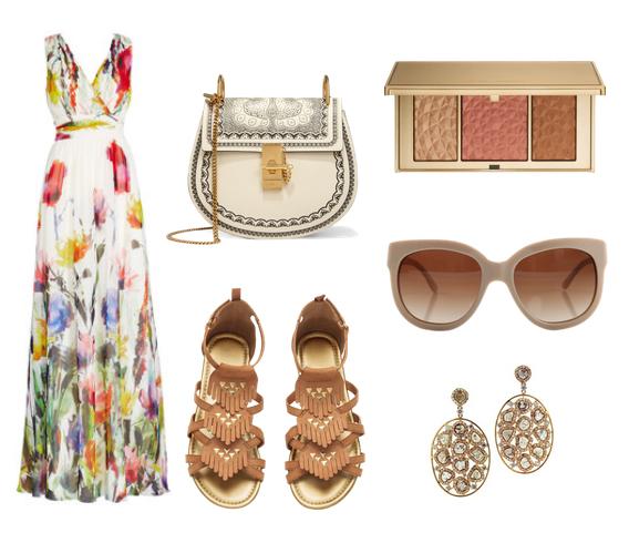 модные сеты 2016, образы на лето - мкси сарафан с цветочным принтом