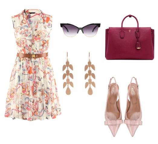 модные сеты 2016, образы на лето - платья плиссе с цветочным принтом