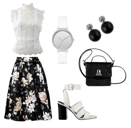 модные сеты 2016, образы на лето - юбка с цветочным принтом, кружевной топ