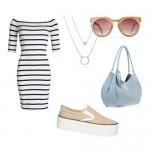 Модный образ лета — слипоны и трикотажное платье