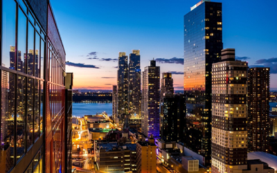 вечерний нью йорк, небоскребы