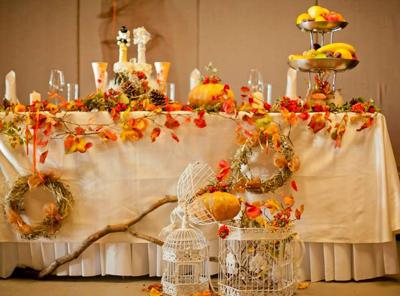 декор банкета осенней свадьбы