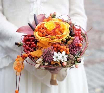 свадебный букет для осенней свадьбы