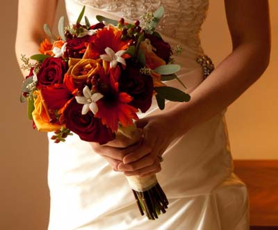 свадебный букет, невеста, осень