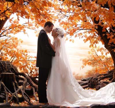 свадьба осенью, фотосессия