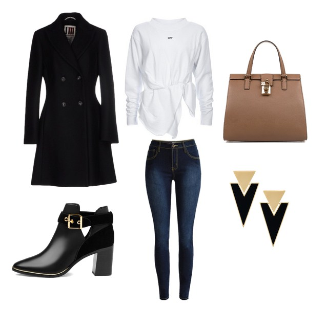 модный сет, классический образ, пальто