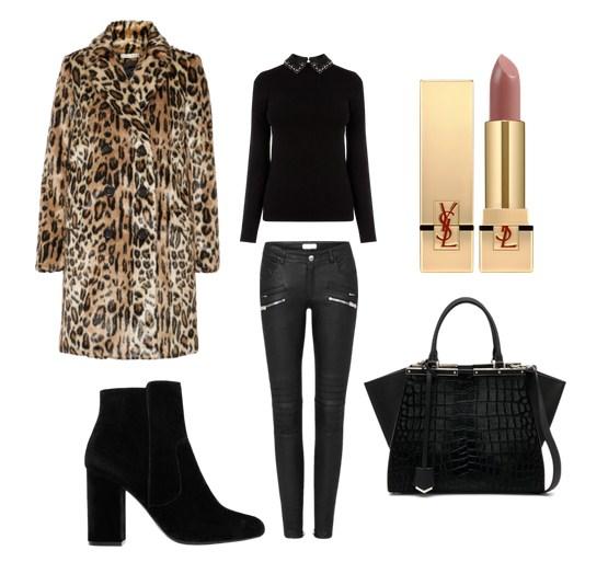 леопардовый рисунок, пальто, модные сеты