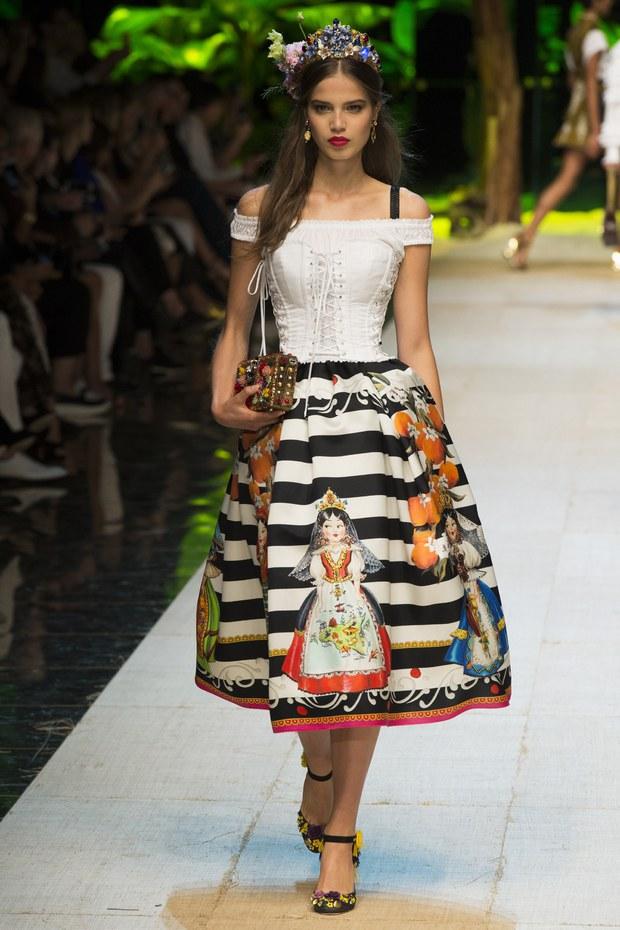 юбка с принтом в полоску