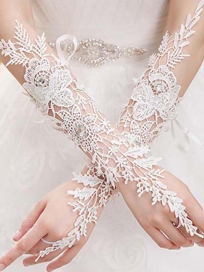 длинные кружевные свадебные перчатки