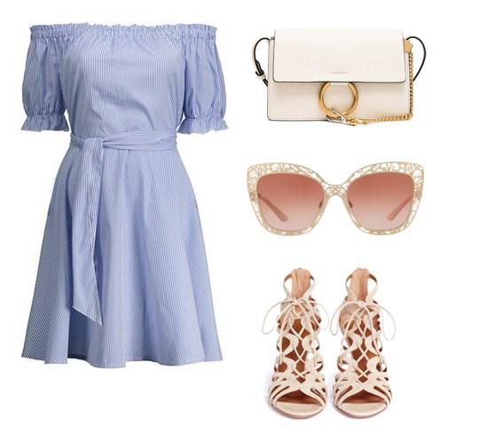 модный сет на лето - платье с открытыми плечами