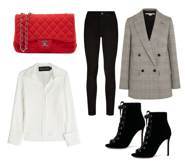 красная сумка и джинсы с пиджаком