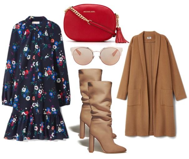 красная сумка и платье с цветочным принтом