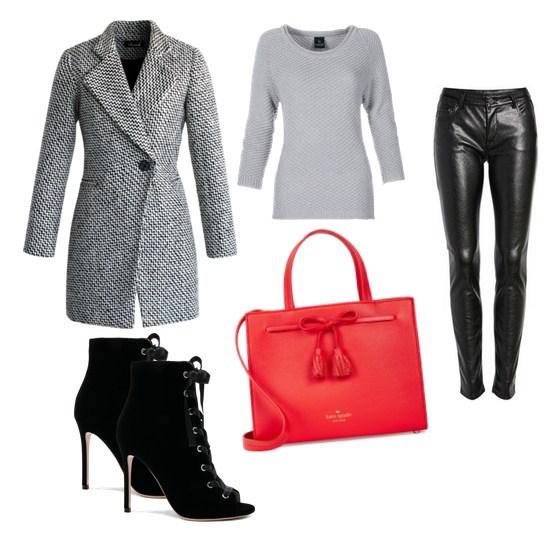 красная сумка и серое пальто - модный сет