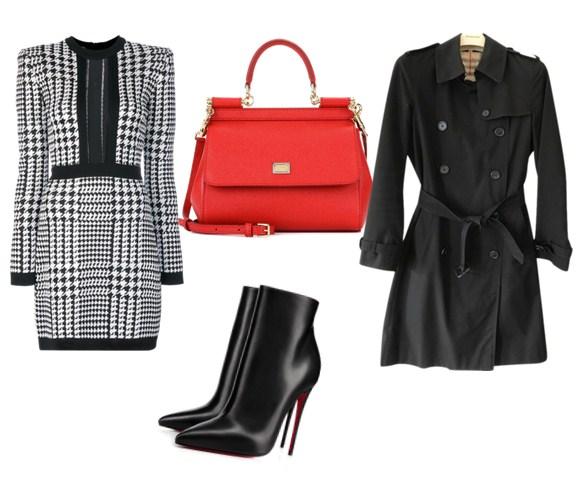 красная сумка и черный тренч