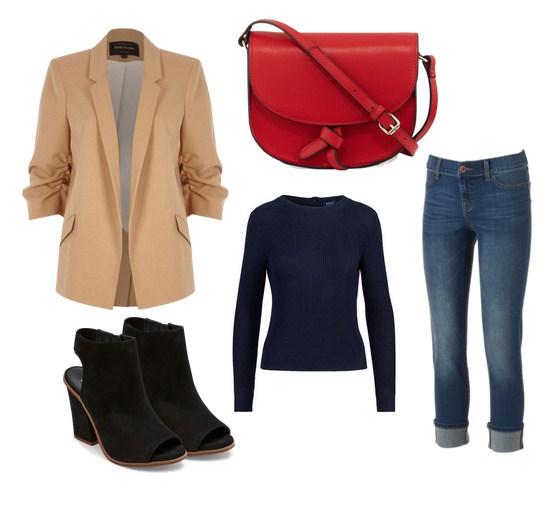 красная сумка кросс боди и джинсы - модный сет