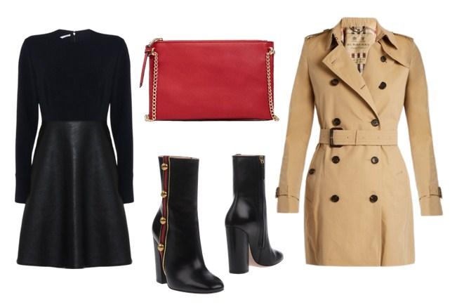 красная сумка, черное платье и бежевый тренч - модный сет
