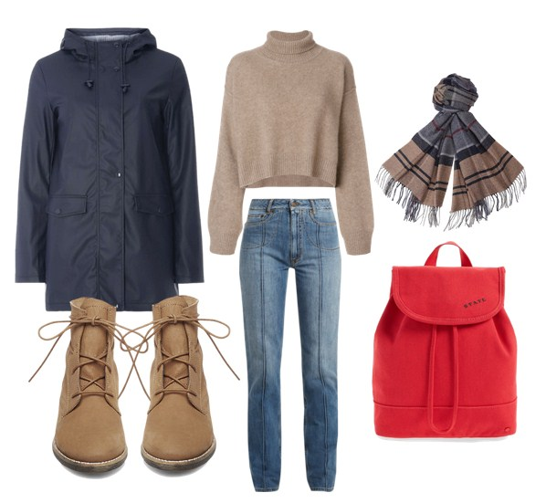красный рюкзак, джинсы и куртка-ветровка - модный сет