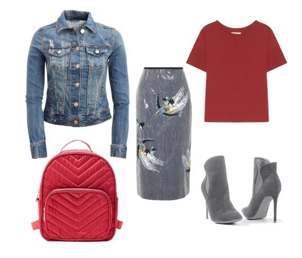 красный рюкзак, серая юбка и джинсовая куртка - модный сет