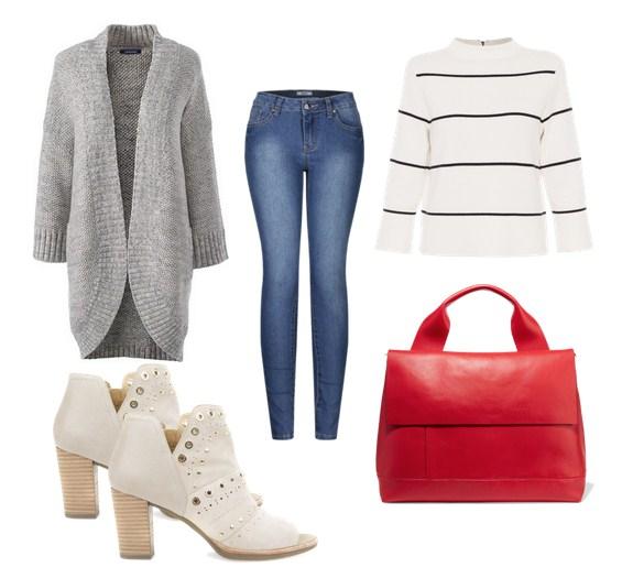 сумка красного цвета, джинсы, кардиган - модный сет