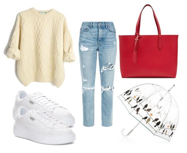 сумка красного цвета, джинсы, свитер - модный сет