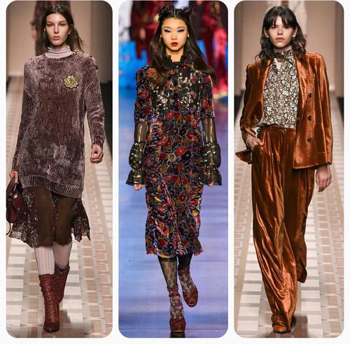 Anna Sui, Trussardi - бархатный пуловер, бархатное платье, бархатный костюм