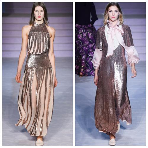 красивые и модные платья на новый год - золотистые пайетки
