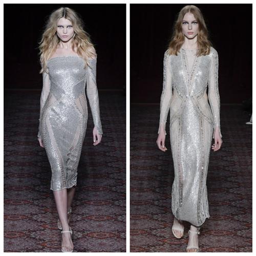 красивые платья на новый год 2018 - серебристые пайетки