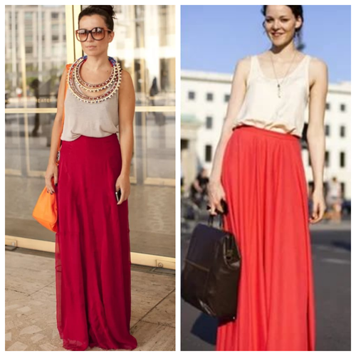 красная макси-юбка - с чем носить и как сочетать