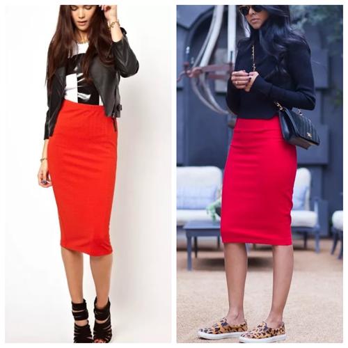 красная трикотажная юбка - с чем носить, модные сеты
