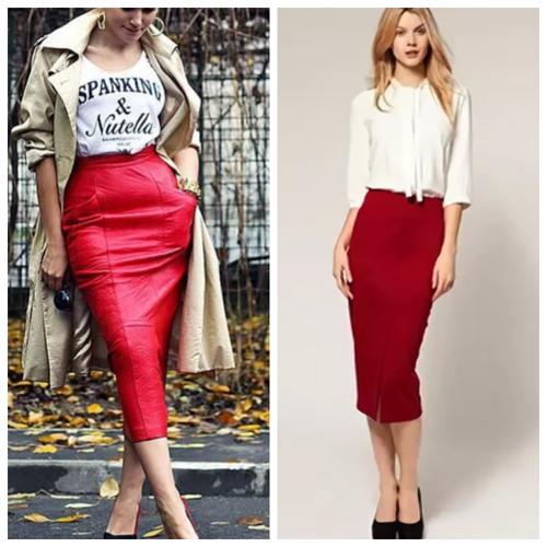 красная юбка-карандаш - с чем носить и сочетать