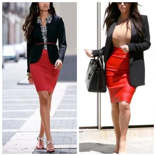 красная юбка-карандаш - с чем носить и сочетать (8)