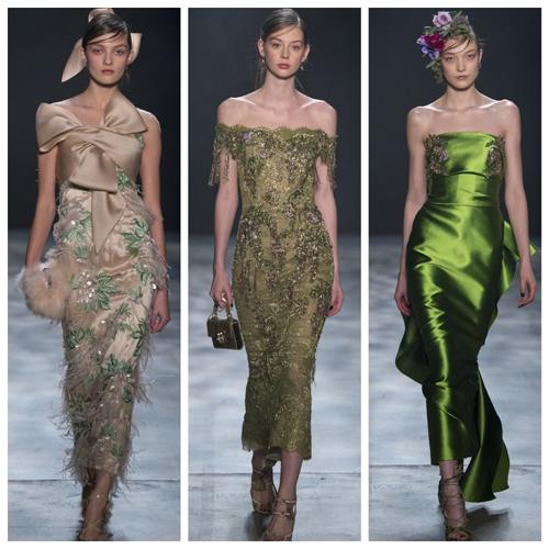 модные платья на новый год 2018 - бежевый, охра, зеленый цвет