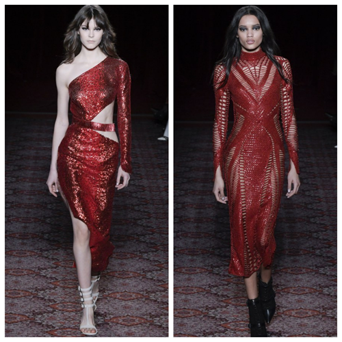 модные платья на новый год 2018 - красные пайетки