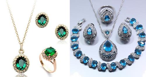 украшения из серебра с натуральными камнями - изумруд и топаз