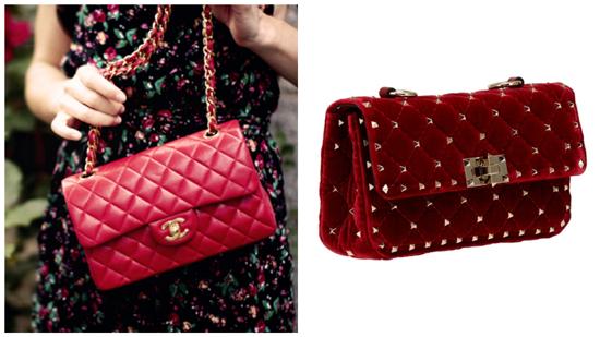 сумка стеганая, красная женская стеганая сумка