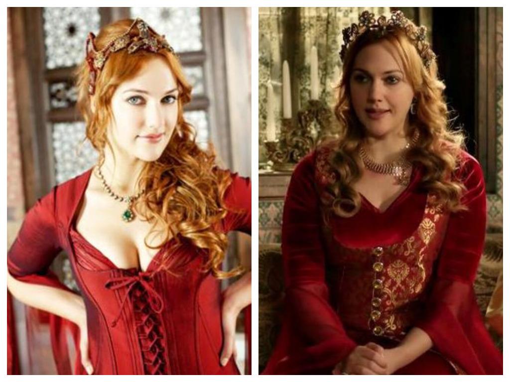 хасеки хюррем султан в красном платье в юности и зрелости