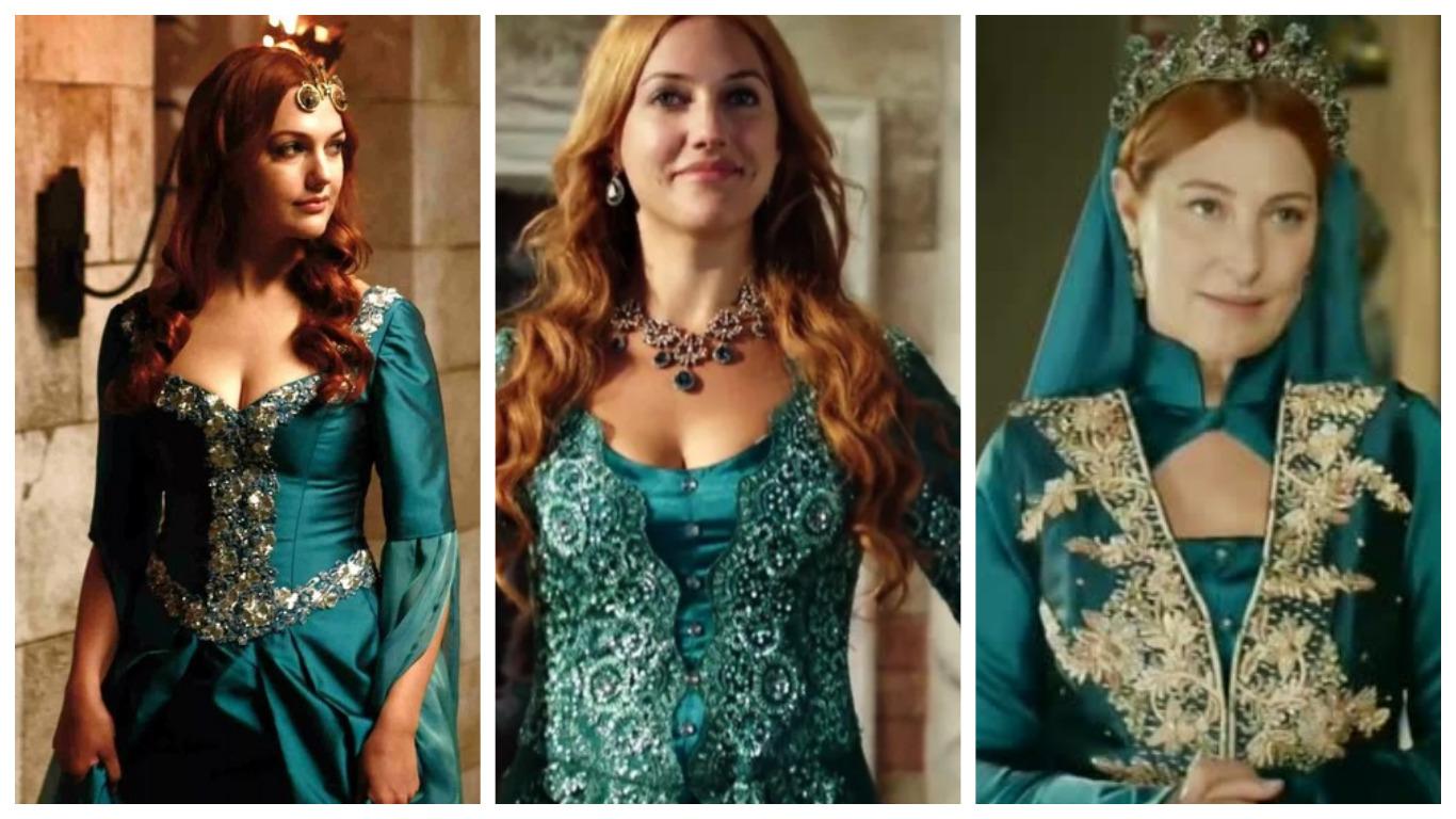 хюррем в голубом платье в юности и в зрелые годы, великолепный век