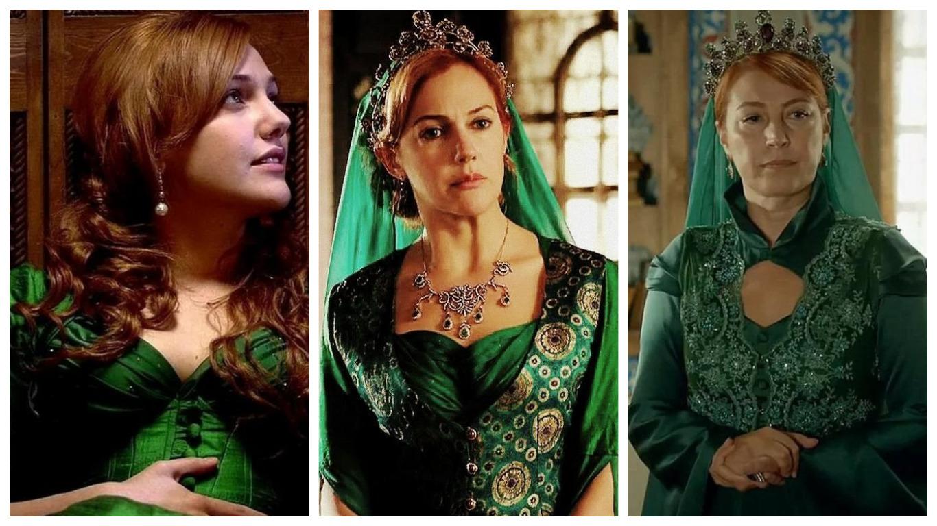 хюррем султан в зеленом платье в юности и в зрелые годы