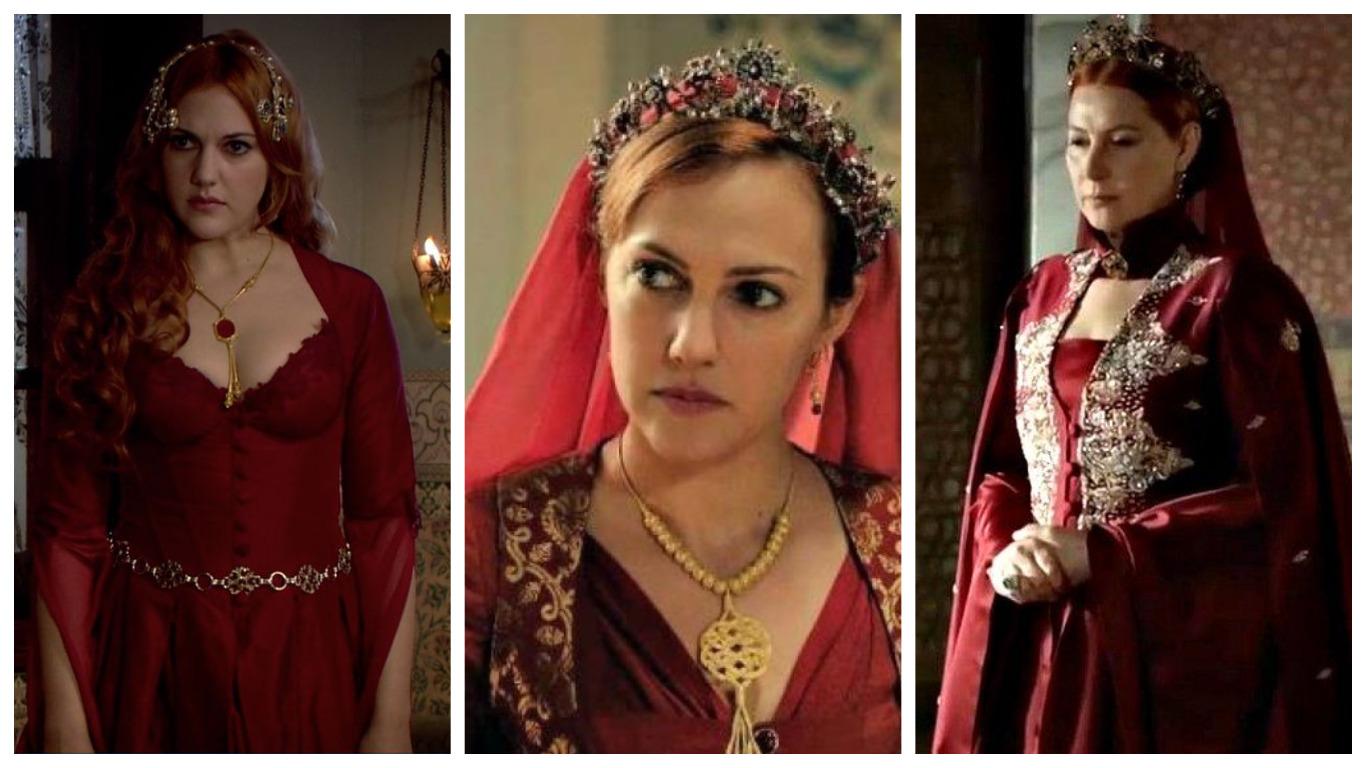 хюррем султан в красном платье в юности и зрелые годы