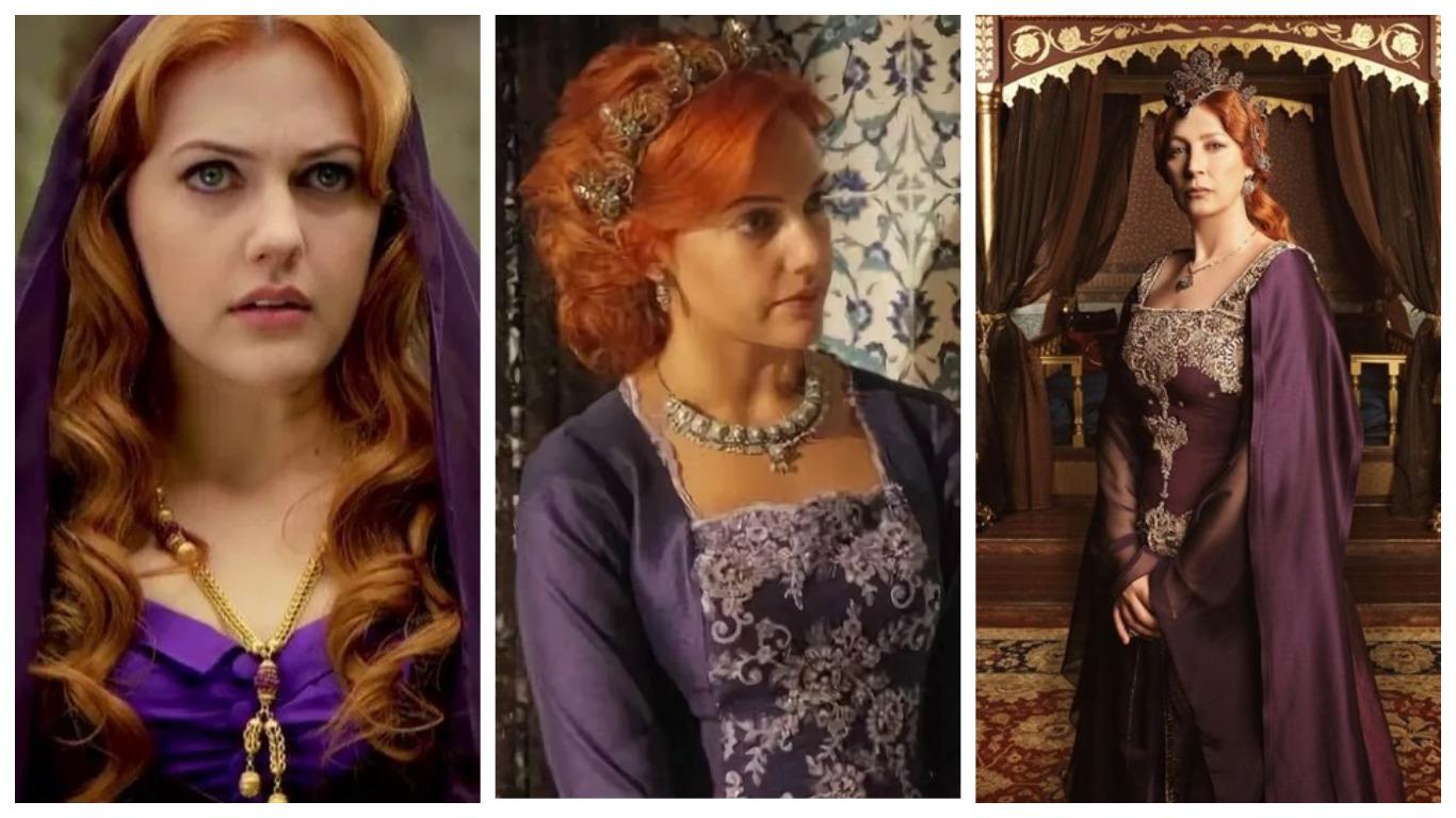 хюррем султан в фиолетовом платье в юности и в зрелые годы
