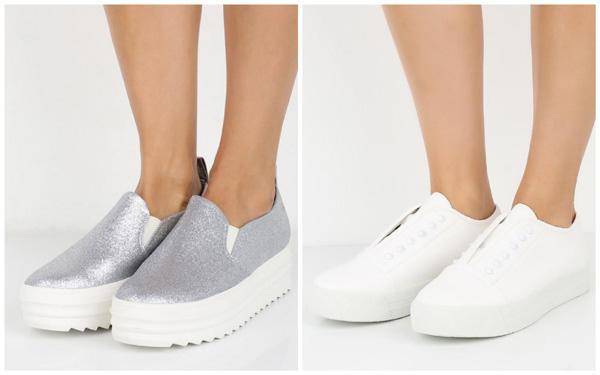 самая модная обувь лето 2018 - белые и серебристые слипоны