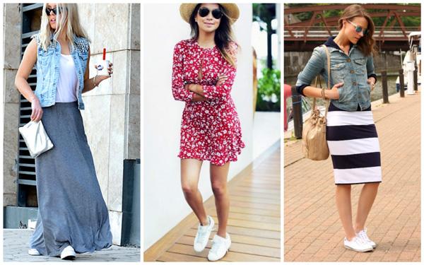 самая модная обувь лето 2018 - белые кеды и летние платья