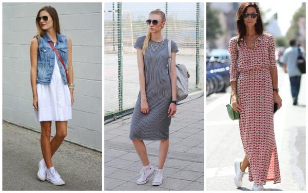 самая модная обувь лето 2018 - белые кеды и платья разной длины
