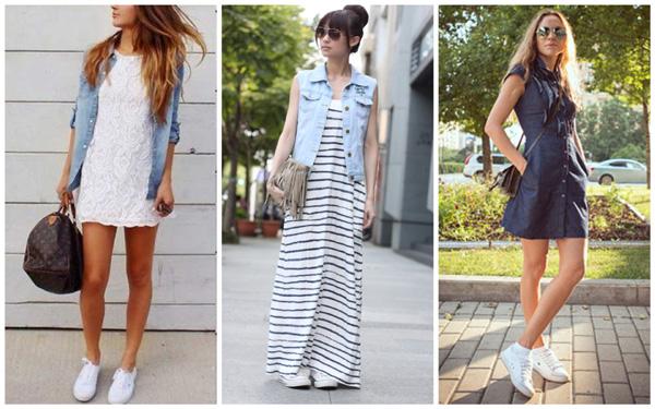 самая модная обувь лето 2018 - белые кеды и платья