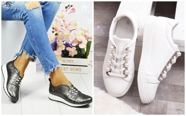 самая модная обувь лето 2018 - кеды и кроссовки с декором под демчуг