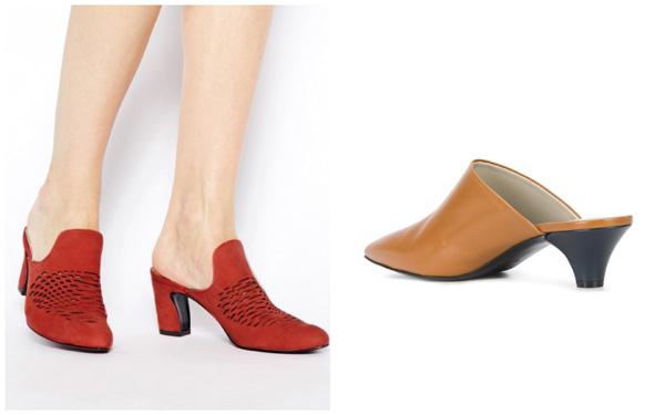 самая модная обувь лето 2018 - красные и бежевые мюли