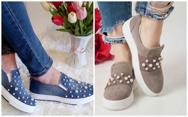 самая модная обувь лето 2018 - слипоны декор жемчуг