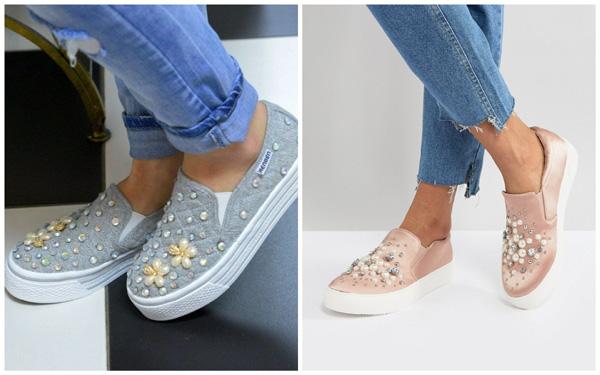 самая модная обувь лето 2018 - слипоны с декором из жемчуга